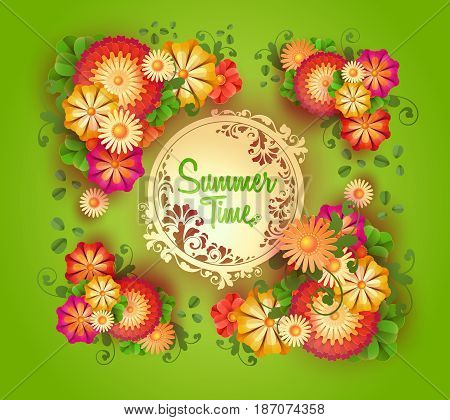 Vector green background with floral round frame and space for text. A great poster for announcement sales, discounts, special holiday offers