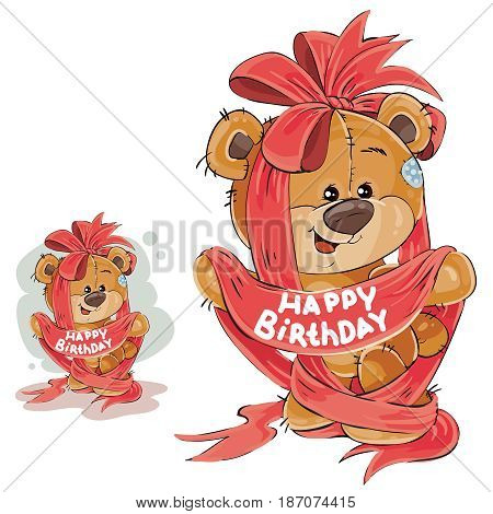 Vector illustration of a brown teddy bear entangled in a red ribbon with the inscription Happy Birthday. Print, template, design element