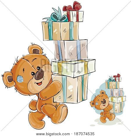 Vector illustration of a brown teddy bear carries a stack of gift boxes Print, template, design element