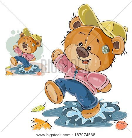 Vector illustration of a brown teddy bear fun walking along autumn puddles and fallen leaves. Print, template, design element