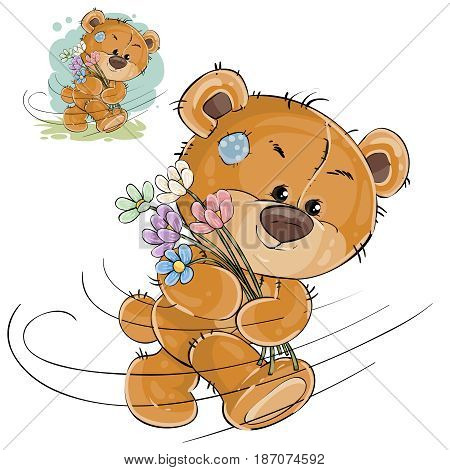 Vector illustration of a brown teddy bear carries a bouquet of flowers, hurries to congratulate. Print, template, design element