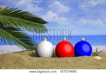 Christmas Beach Vacation Concept. 3D Illustration