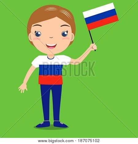Smiling child, boy, holding a russian flag isolated on green background. Cartoon mascot. Holiday illustration to the Day of the country, Independence Day, Flag Day.