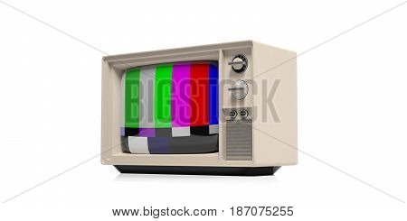 Vintage Tv With Color Bars On White Background. 3D Illustration