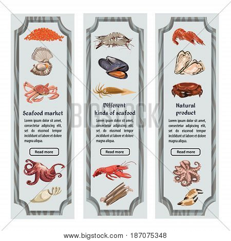 Colorful sketch natural seafood vertical banners with text sea and ocean animals and creatures vector illustration