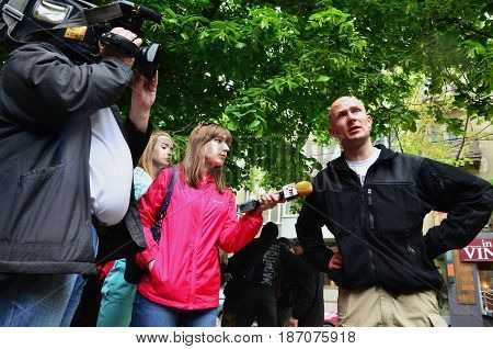 Kharkov, Ukraine - May 17, 2017: Participants Of The Right-wing Nazi And Patriotic Movement Give Int