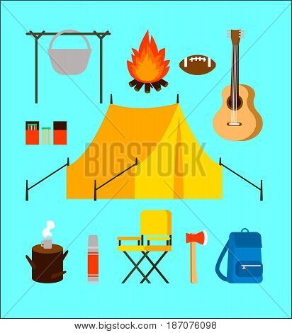 Flat camping elements collection with backpacking equipment and accessories on turquoise background isolated vector illustration