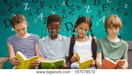 Digital composite of Digital composite image of children studying on sofa with letters flying in background