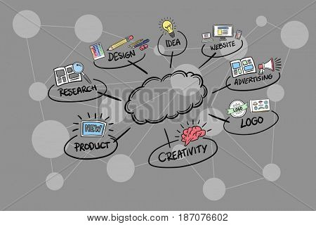 Digital composite of Digitally generated image of cloud amidst various icons