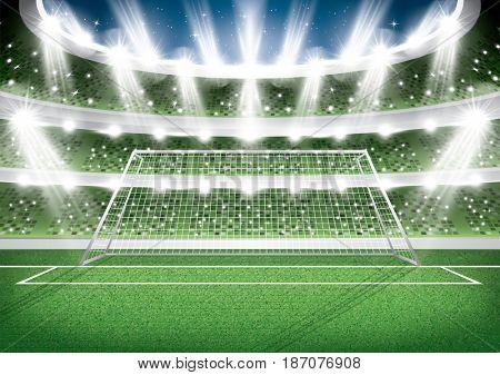 Soccer Stadium. Goal Post. Football Arena.