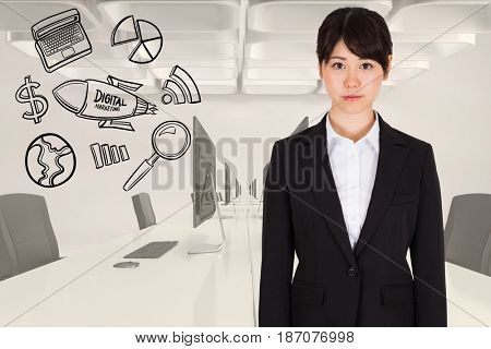 Digital composite of Digitally generated image of businesswoman standing by various icons in office