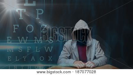 Digital composite of Digital composite image of hacker with letters