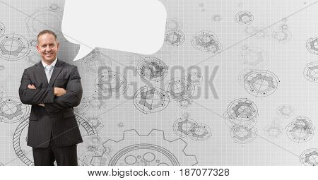 Digital composite of Businessman standing arms crossed against gear background