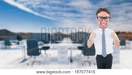 Digital composite of Nerd businessman showing thumbs up