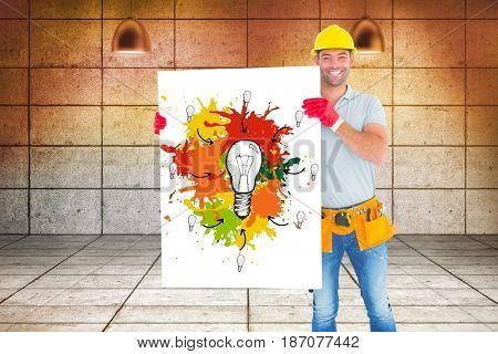 Digital composite of Carpenter holding billboard with painting while standing against wall