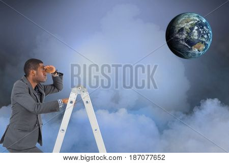Digital composite of Digital composite image of businessman on ladder looking at globe in sky