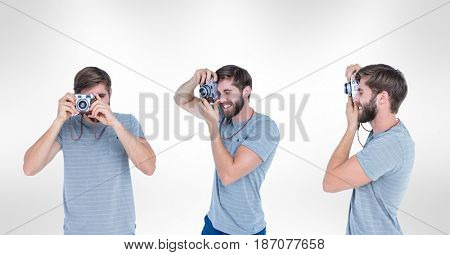 Digital composite of Multiple image of man using camera against white background