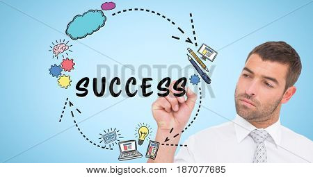 Digital composite of Businessman drawing graphics with text on screen
