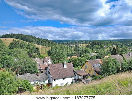 View over Village of Altenau in Harz Mountains,lower Saxony,Germany