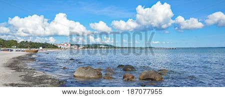 Beach of Binz on Ruegen at baltic Sea,Mecklenburg-Vorpommern,Germany