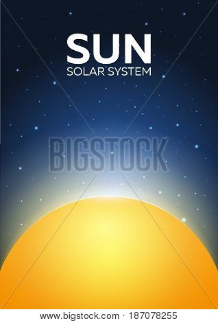 Poster Sun And Solar System. Space Background.
