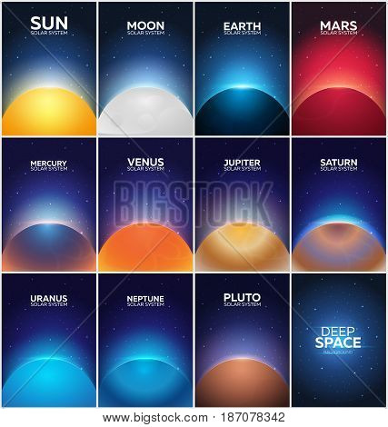 Set Posters Planet Of Solar System. Space Background.