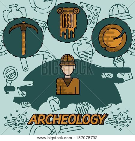 Archeology flat concept icons. Historical. Tools for excavations. Species origin. Education. Flat style vector illustration.
