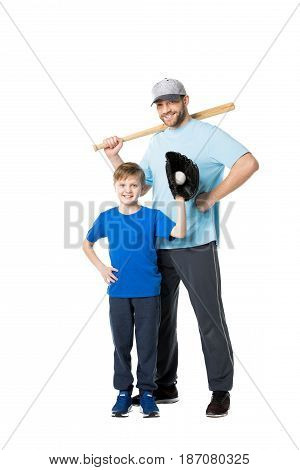 Happy Father And Child Ready To Play Baseball Isolated On White