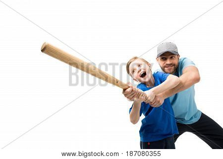 Happy Father Teaching His Son How To Play Baseball Isolated On White