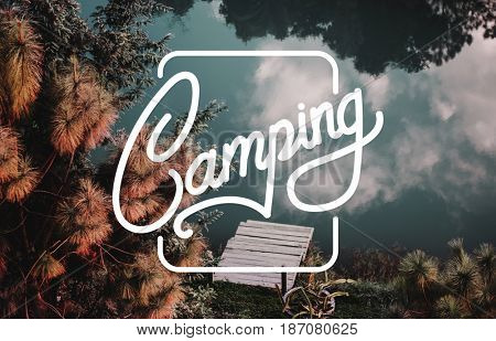 Camping Travel Graphic Pattern Banner Stamp