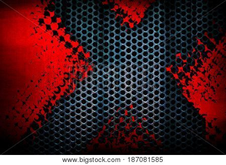 cracked metal mesh with x design background