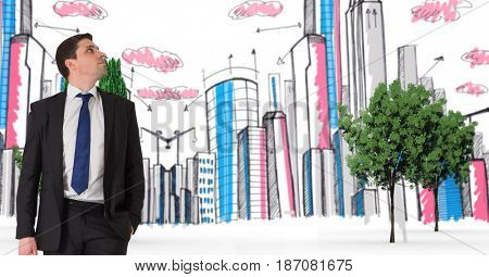 Digital composite of Digital composite image of businessman with buildings and trees in background