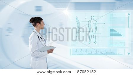 Digital composite of Digital composite image of female with clipboard analyzing human body with interface graphics