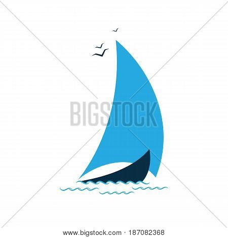 Sailboat in the sea. Logo for the tourist company, for sailing, regatta.