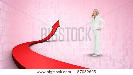 Digital composite of Digital composite image of businesswoman by red arrow