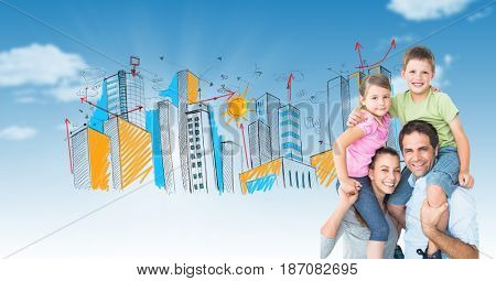 Digital composite of Digital composite image of parents carrying children on shoulders with drawn city in background