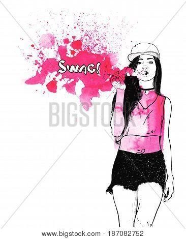 Poster For Vape Shop. Vape Girl. Rap music girl. Pretty Young Urban Rap Girl. Isolated over white. Vector illustration