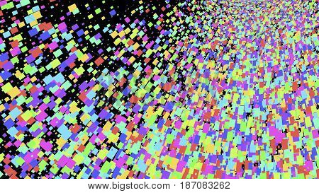 Wide format abstract background, optical illusion of gradient effect. Stipple effect. Mosaic abstract composition. Rhythmic colorful tiles. Decorative shapes. Black background. Colorful particles