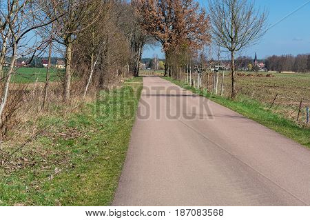 Road between the village Meinsdorf and the village Mühlstedt in Saxony Anhalt Germany.