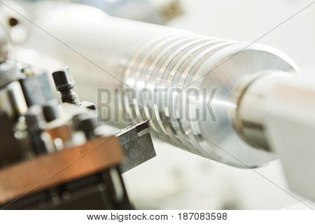 cutting tool at metal working on lathe machine