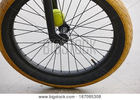 Bike wheel detail. BMX style. Sport background. Horizontal