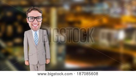 Digital composite of nerd businessman in suit standing in office