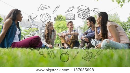 Digital composite of Male and female students sitting on grass with educational graphics