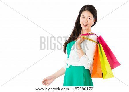 Shot Of Beautiful Lady Model Shopping Satisfied