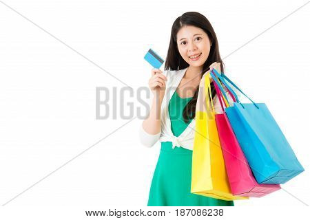 Attractive Asian Woman Using Credit Card