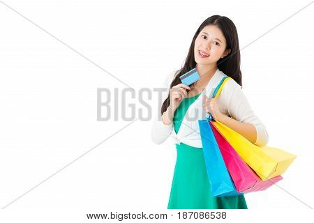 Young Girl Using Credit Card Shopping Online