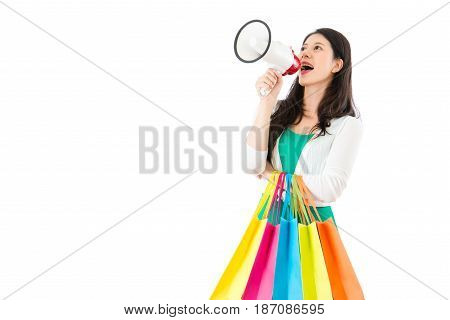 Woman Carrying Bag And Holding Megaphone
