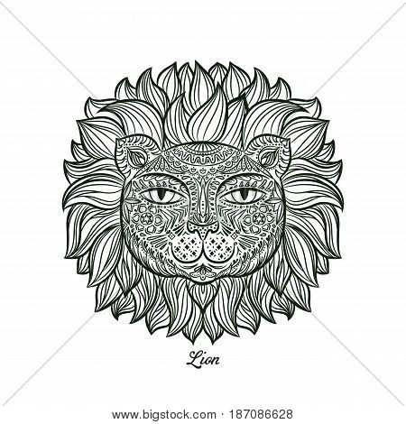 image of a lion head on a white background. Can be used for logo, tattoo, horoscopes, T-shirt graphic, etc.
