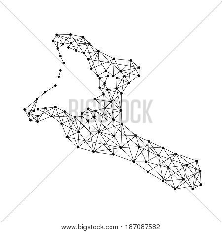 Map of Kiribati from polygonal black lines and dots of vector illustration
