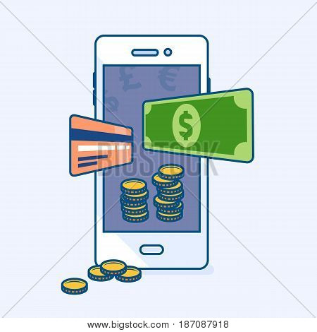 Vector illustration of smartphone mobile wallet with flying dollar money banknote credit card coins. Reliable safe security available purse. Phone banking eCommerce business finance concept